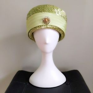 Vtg Lime Green Straw Pin Pillbox Toque Turban Hat